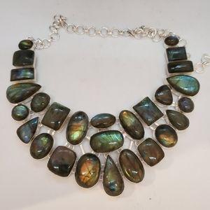 Nwot Large Labradorite Silverplate Necklace